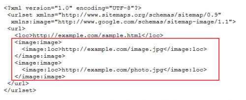 xml source code highlighting image details section